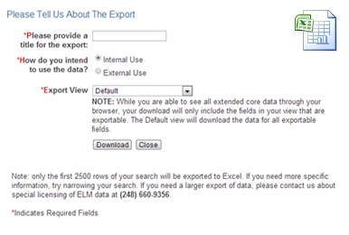 Numerus Industry Data Search - Export Search Results